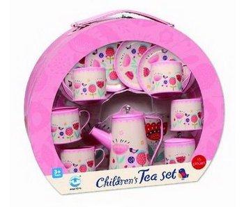 Service à thé métal rose - 15 pièces - 3+