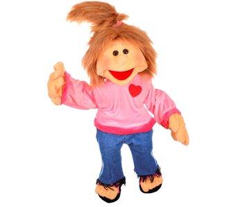Living Puppets Paula, meisje met Jeans en Sandalen - Handpop 65 cm