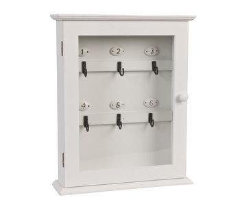 Clayre & Eef Boîte à clés blanche 25x7x3h