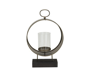 Lantaarn brass 15,5x10,5xh41,5cm rond metaal