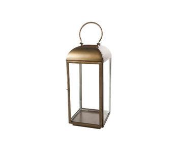 Lantaarn brass - geelkoper vierkant metaal 25,5x25,5xh56 oriental