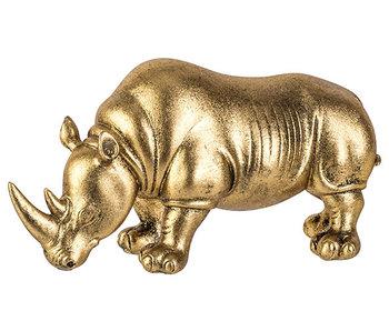 Neushoorn goud 24x9,5xh13cm aardewerk