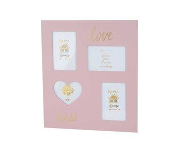 Pele mele love roze 35x40xh,8cm hout