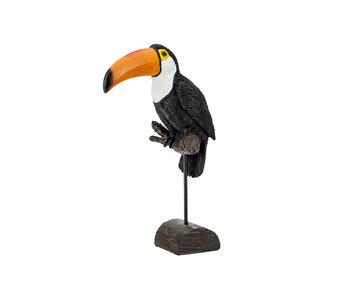 Vogel op staander toekan zwart 23x11,5xh34cm polyresin
