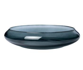 Schaal bowl with rim grijs 40x40xh9,5cmrond glas