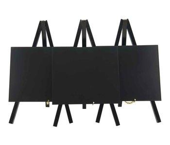 Mini-ezel set3 mini tafelkrijtbord zwartzwarte afwerking lak-24.4x15x13cm