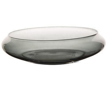 Schaal bowl with rim grijs 35x35xh8,5cmrond glas