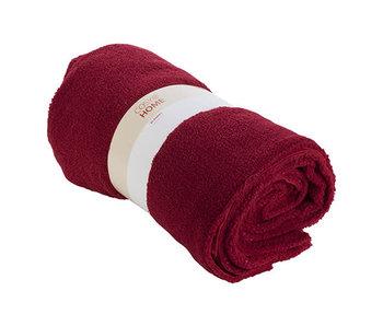 Plaid wool donkerrood 160x140xh,5cm textiel