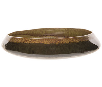 Schaal bicolor degraded mosterd 33x33xh6,5cm rond aardewerk