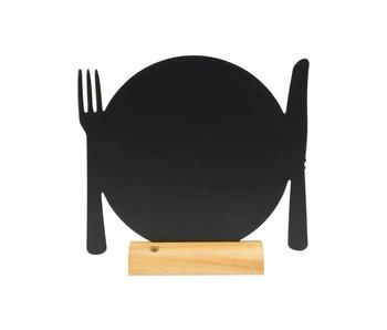 Silhouet tafelkrijtbord bord-bestek zwart -houten basis - 24x25.3x6cm-incl krijt