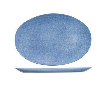Sajet blue plat bord 35x24cm ovaal