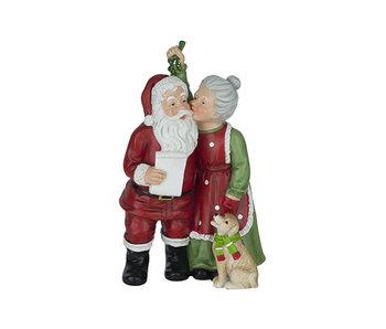 Santa miss claus rood 15x11xh25,5cm resin