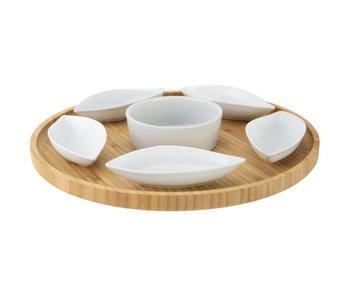 Serveerplank d26xh3cm rond bamboe+6keramieken bowls (11.5x5x25cm)