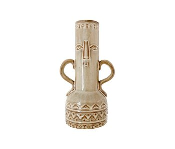 Vaas face beige 16,5x12,5xh30cm rond aardewerk