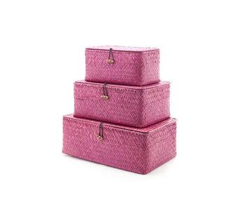 Set3 rieten mandje balk burgundy 35.5x23x13.5cm 29x21x12.5cm 24x14.5x12cm