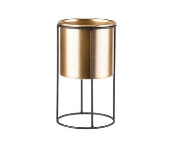 Staander gold pot d13.5 x h13cm zwart 16,5x15xh35cm driehoekig metaal