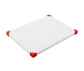 Snijplank nonslip wit-rode hoeken40.4x30.4x2.4cm