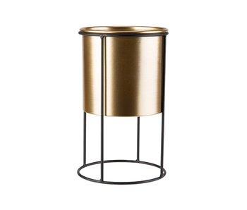 Staander gold pot d18,5 x h14,5 cm zwart 18,5x18,5xh30,5cm rond metaal