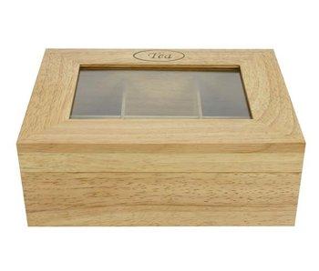 Theedoos 6compartimenten 23,8x18,8cmrechthoek hout
