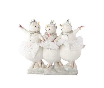 3 sneeuwman. Dansen ballet 23x8xh18cmresine