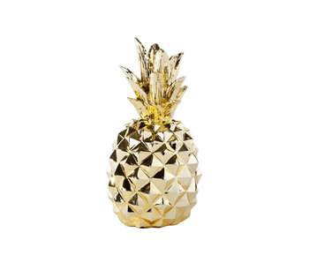 Ananas goud resine 10x10x20cm