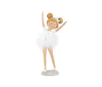 Beeld ballerina wit 11x7,5xh26cm polyresin