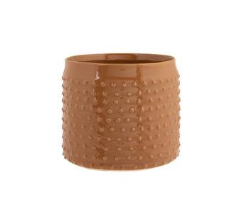 Bloempot glazed embossed dots camel 17,5x17,5xh15cm cilindrisch aardewerk