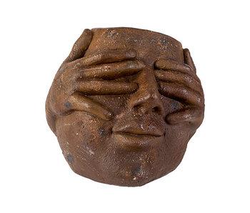 Bloempot face bruin 25,5x27xh24cm ovaalkeramiek