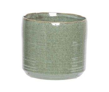 Bloempot groen 16,5x16,5xh15cm cilindrisch aardewerk