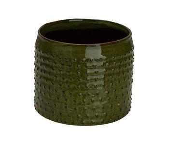 Bloempot glazed embossed dots groen 17,5x17,5xh15cm cilindrisch aardewerk
