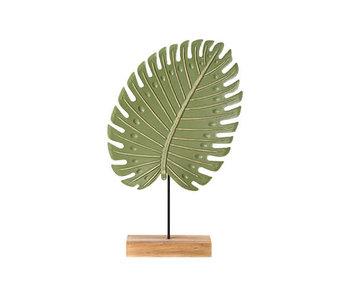 Blad on foot groen 23,5x6xh37cm hout