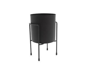 Bloempot on foot zwart 13,8x12xh21,2cm rond metaal