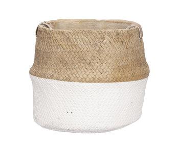 Bloempot leather handle wit 23x22,5xh20cm rond cement