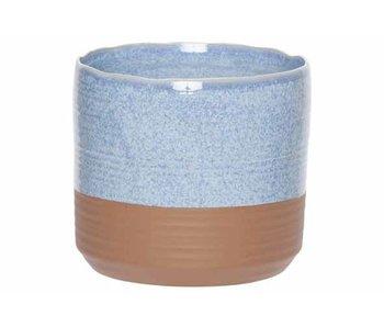 Bloempot duo jeans blauw 16,5x16,5xh15cm cilindrisch aardewerk