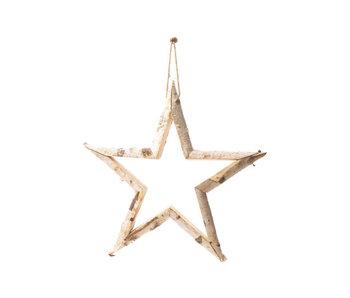 Hanger ster schors natuur 65x65xh5,5cm hout