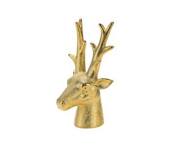 Hertenkop  matt goud 13,7x13xh25cm keramiek
