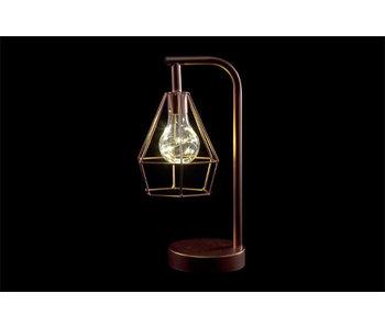Lamp koper metaal 15,5x12,5xh30,5 geometric led excl.3xaaa batt.