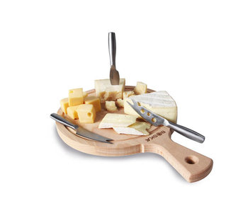 Planche Amigo avec 3xcouteau à fromage 33,5x23,8x3cmtous types de fromages