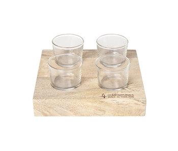 Hapjesplank m 4 glaasjes 22x22x4cmglas d6,5xh6cm 10cl