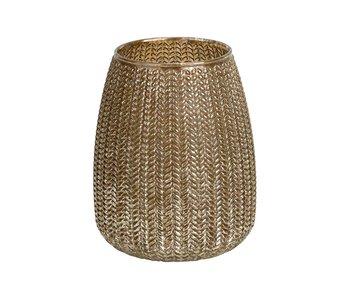 Theelichthouder knitted champagne d14,5h19cm rond conisch glas