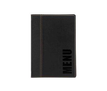 Trendy menuhouder zwart 25,3x17,7xh,8cmleather syle - 4xa5