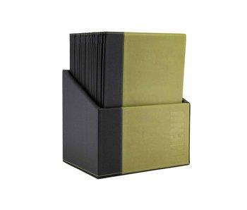 Porte-menu tendance vert 34x24,6xh,4cm a4style cuir 4x a4