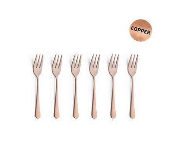 Vintage set6 gebakvorken copper