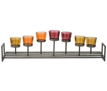 Theelichthouder multi-kleur 71,5x15xh21cm metaal-glas