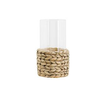 Windlicht woven with glass beige 14,5x14,5xh30cm cilindrisch cement