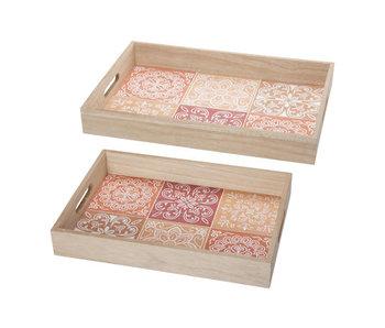 Dienblad set2 mandala terracotta 40x30xh5,5cm rechthoek hout