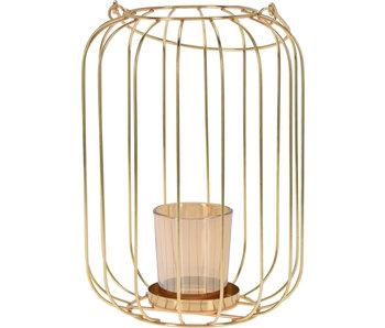 Lanterne métal 22 cm or