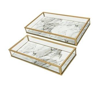 1 Dienblad groot  -  goud/marmer - glas 14x24x3cm