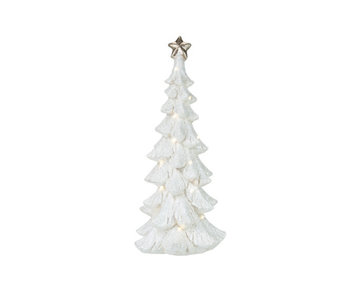 KERSTBOOM LED EXCL 3XAA BATTERY ZILVER 25,5X26XH61CM POLYRESIN