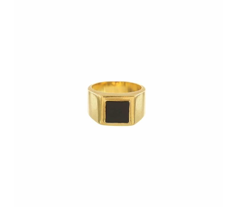 Onyx Signet Ring Verguld